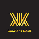 Initial letter KK elegant gold reflected lowercase logo template in black background Royalty Free Stock Image