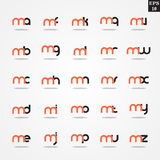 Initial letter M compilation from A to Z lowercase logo design template colorful. Logo template initial letter idea for brand company name Royalty Free Stock Photo
