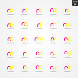 Initial letter N compilation from A to Z lowercase logo design template colorful. Logo template initial letter idea for brand company name Stock Photos