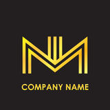 Initial letter NN elegant gold reflected lowercase logo template in black background Stock Photography