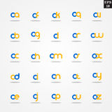 Initial letter O compilation from A to Z lowercase logo design template colorful. Logo template initial letter idea for brand company name Royalty Free Stock Photos