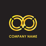 Initial letter OO elegant gold reflected lowercase logo template in black background Royalty Free Stock Photography
