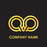 Initial letter QQ elegant gold reflected lowercase logo template in black background Stock Images