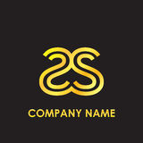 Initial letter SS elegant gold reflected lowercase logo template in black background Royalty Free Stock Image