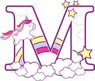 Initial m with cute unicorn and rainbow. Can be used for baby birth announcements, nursery decoration, party theme or birthday invitation. Design for baby and vector illustration