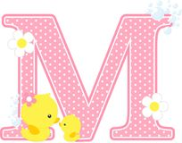 Initial m with flowers and cute rubber duck. Initial m with flowers and cute baby duck and mom isolated on white. can be used for baby girl birth announcements Stock Photos