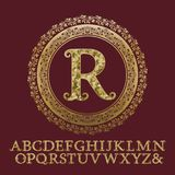 Initial monogram with letters encrusted glittering fragments Royalty Free Stock Photos