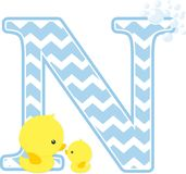 Initial n with bubbles and cute baby rubber duck. Initial n with bubbles and little baby rubber duck isolated on white background. can be used for baby boy birth Royalty Free Stock Photography