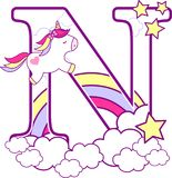 Initial n with cute unicorn and rainbow. Can be used for baby birth announcements, nursery decoration, party theme or birthday invitation. Design for baby and stock illustration