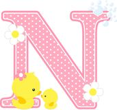 Initial n with flowers and cute rubber duck. Initial n with flowers and cute baby duck and mom isolated on white. can be used for baby girl birth announcements Royalty Free Stock Photo