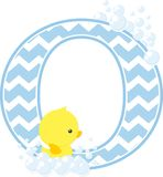 Initial o with bubbles and cute baby rubber duck. Initial o with bubbles and little baby rubber duck isolated on white background. can be used for baby boy birth Royalty Free Stock Images