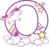 Initial o with cute unicorn and rainbow. Can be used for baby birth announcements, nursery decoration, party theme or birthday invitation. Design for baby and vector illustration