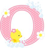 Initial o with flowers and cute rubber duck. Initial o with bubbles and cute rubber duck isolated on white. can be used for baby girl birth announcements Stock Photography