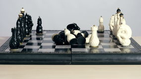 Initial position of chess figures on the board stock footage