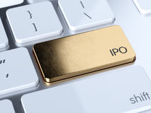 Initial Public Offering golden button. Golden IPO, Initial Public Offering service sign button on white computer keyboard. 3d rendering concept stock illustration