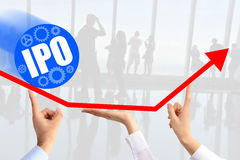 Initial public offering & x28;IPO& x29; or stock market launch concept. With three human hands supporting an up going arrow chart suggesting company growth Royalty Free Stock Image