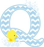 Initial q with bubbles and cute baby rubber duck. Initial q with bubbles and little baby rubber duck isolated on white background. can be used for baby boy birth Royalty Free Stock Image
