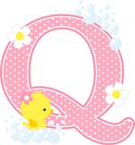 Initial q with flowers and cute rubber duck. Initial q with bubbles and cute rubber duck isolated on white. can be used for baby girl birth announcements Stock Images