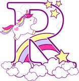 Initial r with cute unicorn and rainbow. Can be used for baby birth announcements, nursery decoration, party theme or birthday invitation. Design for baby and vector illustration