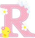 Initial r with flowers and cute rubber duck. Isolated on white. can be used for baby girl birth announcements, nursery decoration, party theme or birthday Royalty Free Stock Image
