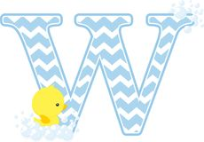 Initial w with cute baby rubber duck. Initial w with bubbles and little baby rubber duck isolated on white background. can be used for baby boy birth Royalty Free Stock Images