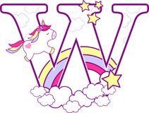 Initial w with cute unicorn and rainbow. Can be used for baby birth announcements, nursery decoration, party theme or birthday invitation. Design for baby and royalty free illustration