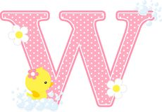Initial w with flowers and cute rubber duck. Initial w with bubbles and cute rubber duck isolated on white. can be used for baby girl birth announcements Royalty Free Stock Images