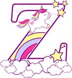 Initial z with cute unicorn and rainbow. Can be used for baby birth announcements, nursery decoration, party theme or birthday invitation. Design for baby and vector illustration