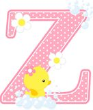 Initial z with flowers and cute rubber duck. Isolated on white. can be used for baby girl birth announcements, nursery decoration, party theme or birthday Royalty Free Stock Photo