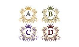 Initiale A B C D de couronne de feuilles Photographie stock libre de droits