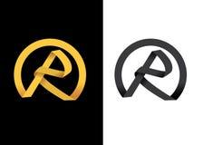 Initiale créatrice d'or de la lettre R Images stock