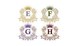 Initiale G E-F H de couronne de feuilles Photo stock