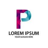 Initiale polygonale P avec le logo Photographie stock libre de droits