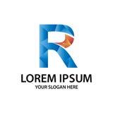 Initiale polygonale R avec le logo Photo libre de droits