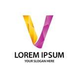 Initiale polygonale V avec le logo Photo stock