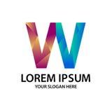 Initiale polygonale W avec le logo Photographie stock