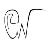 Initialer som märker, G för handteckningsmonogram, tecken för W-bokstavsgrunge Arkivbild