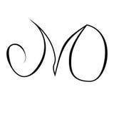Initialer som märker, handteckningsmonogram M, tecken för nolla-bokstavsgrunge Arkivfoton