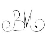 Initials lettering, hand drawing  monogram B,M  letter grunge sign. Initials lettering, hand drawing  monogram B, M  letter grunge sign. Vector illustration Royalty Free Stock Photo
