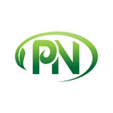 Initials PN logo. Letters PN within an outline of oval with a leaf, logo design, isolated on white background Stock Photography