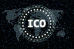 Initialt mynt som erbjuder ICO-tecknet som glöder lett med strålljus på abstrakt bakgrund för världskartanätverkssexhörning stock illustrationer