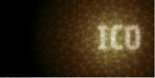 Initialt mynt som erbjuder ICO-text som är skriftlig i binärt format vektor illustrationer