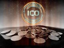Initialt mynt som erbjuder ledd svävande för ICO hologram över kollapsade vanliga mynt på den gamla huvudbokboken stock illustrationer