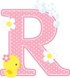 Initialt r med blommor och den gulliga rubber anden Royaltyfri Bild