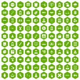 100 initiation icons hexagon green. 100 initiation icons set in green hexagon isolated vector illustration stock illustration