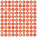 100 initiation icons hexagon orange. 100 initiation icons set in orange hexagon isolated vector illustration Royalty Free Stock Photography