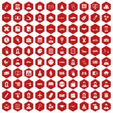 100 initiation icons hexagon red. 100 initiation icons set in red hexagon isolated vector illustration Stock Photos