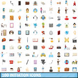 100 initiation icons set, cartoon style Royalty Free Stock Image