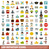 100 initiation icons set, flat style. 100 initiation icons set in flat style for any design vector illustration Royalty Free Stock Images