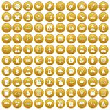 100 initiation icons set gold. 100 initiation icons set in gold circle isolated on white vectr illustration Stock Illustration